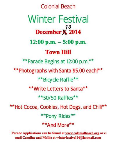 Winter Festival Rescheduled Dec. 13