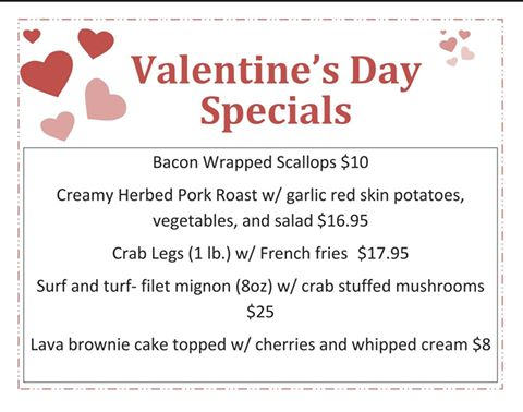 Riverboat Valentines Day Menu