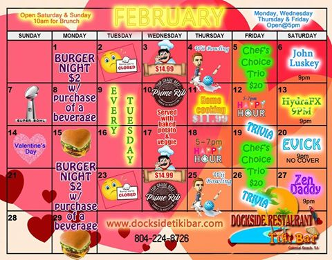 Dockside Feb. 2016 Calendar
