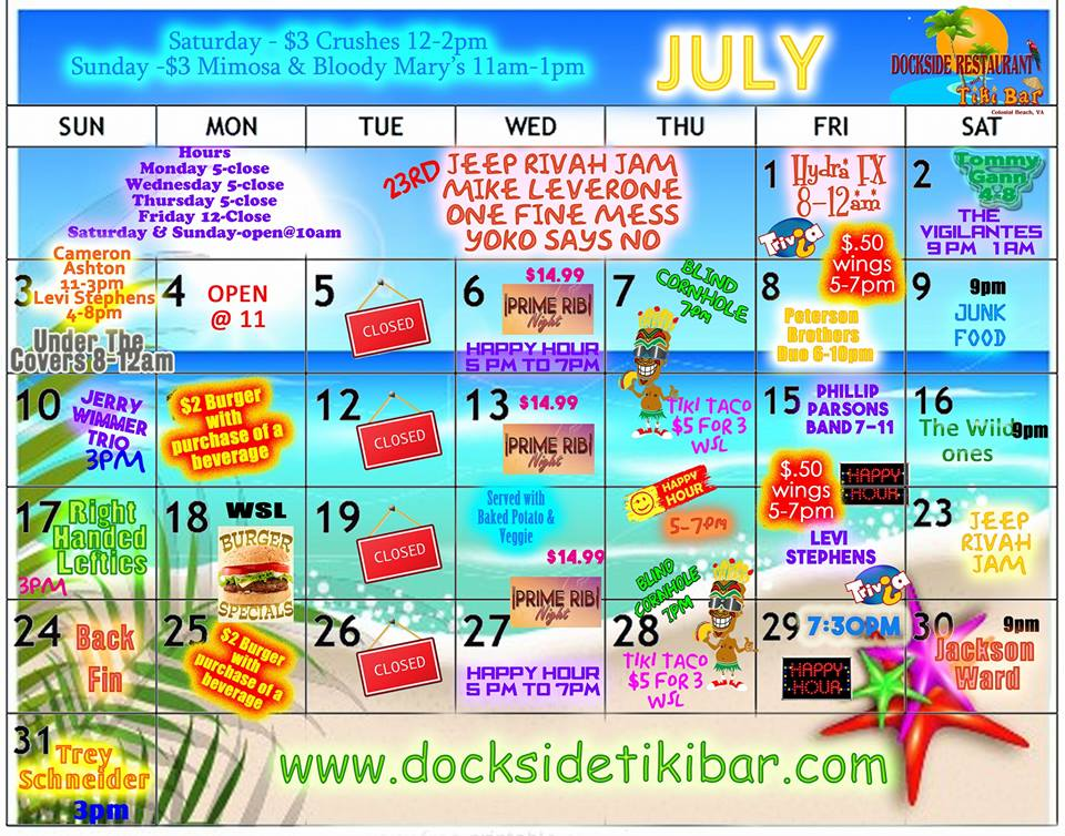 Dockside July calendar