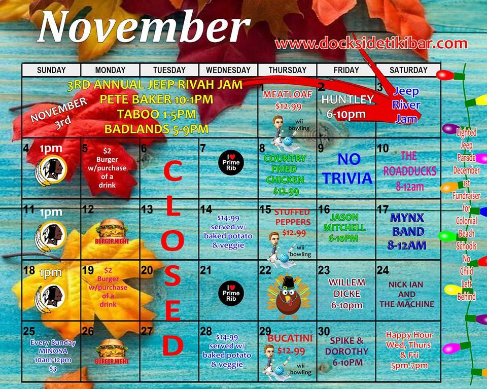 Dockside's November 2018 Calendar