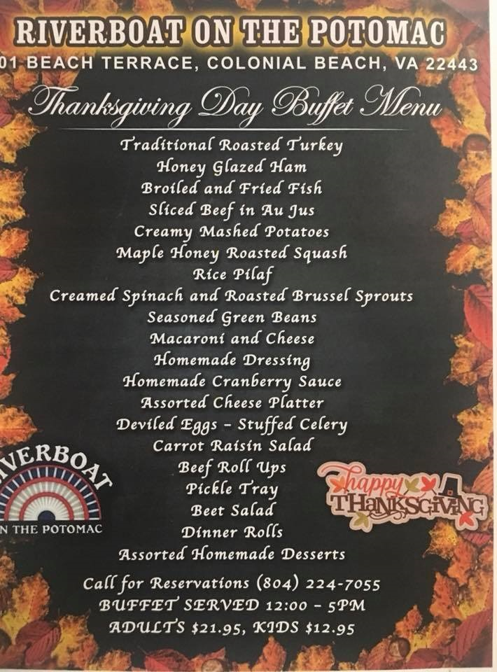 Riverboat Thanksgiving menu