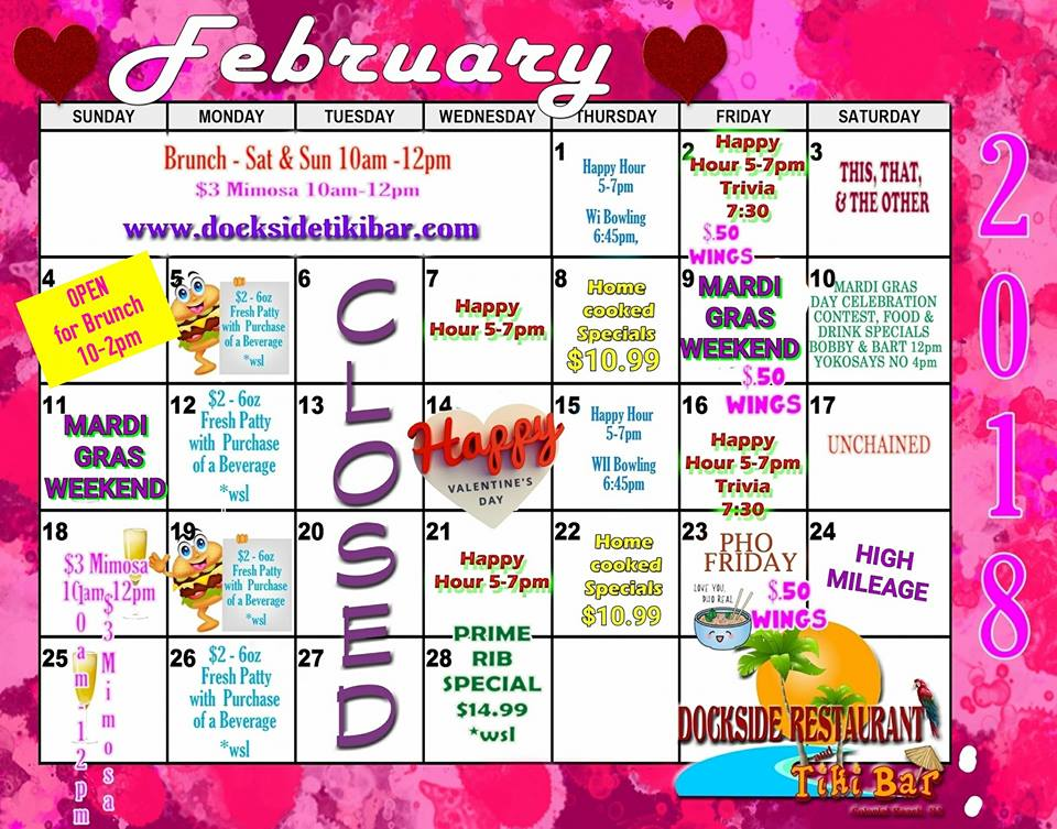 Dockside Feb 2018 calendar