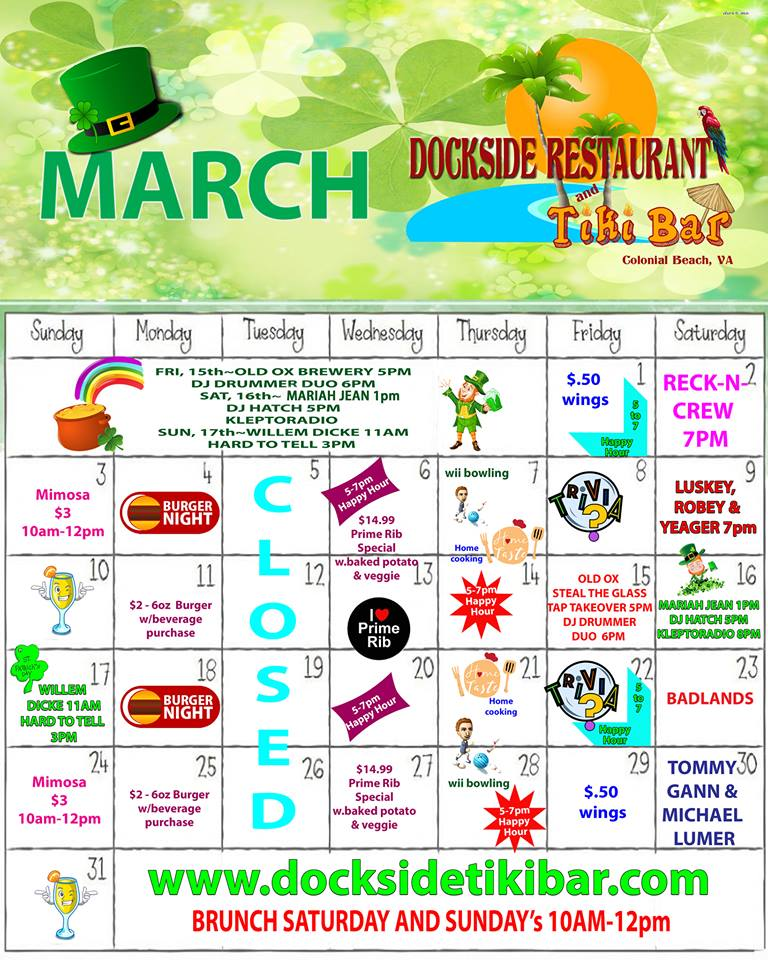 Dockside March Calendar