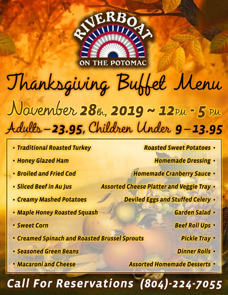 Riverboat's thanksgiving menu