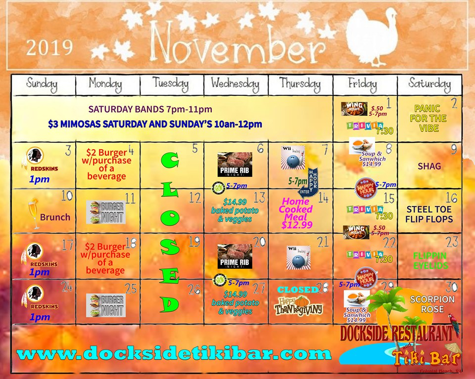 Dockside November 2019 events