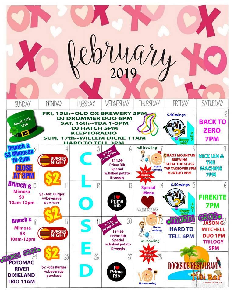Dockside February 2019 Calendar