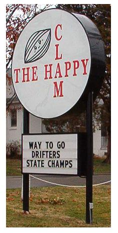 Happy Clam Drifters sign