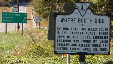 Where Booth Died roadside marker