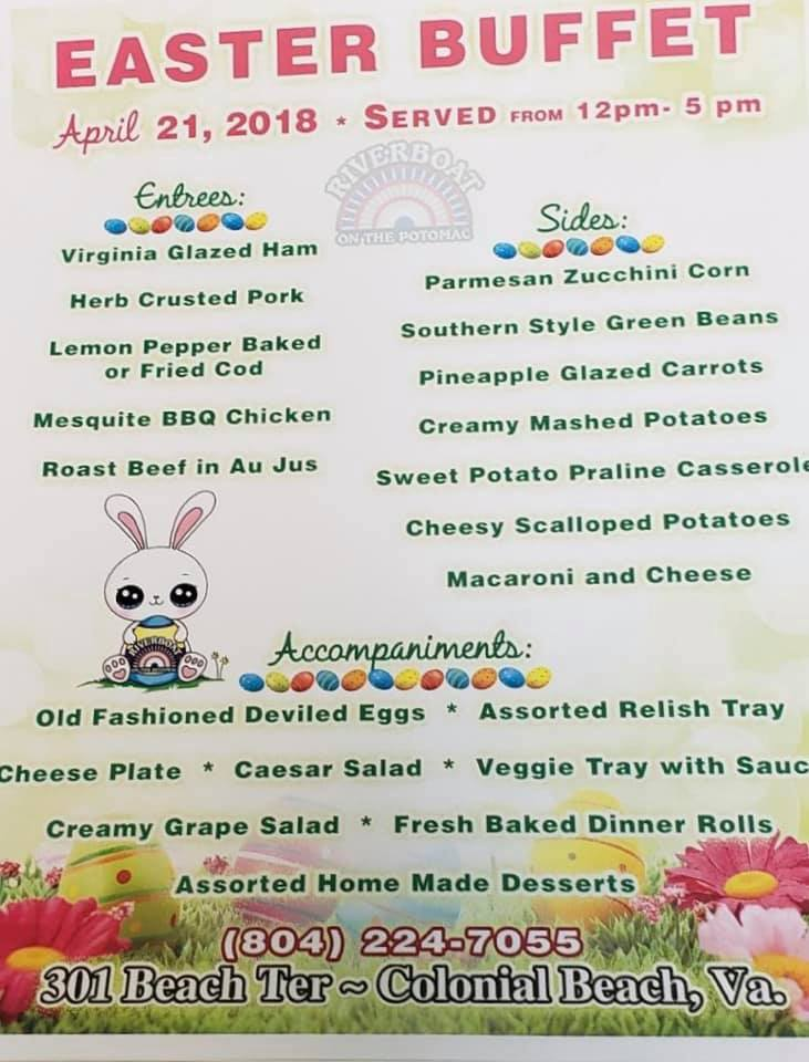 Riverboat Easter Buffet menu