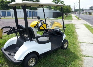 golf carts on display