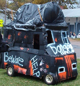 Golf Cart decorated for Halloween