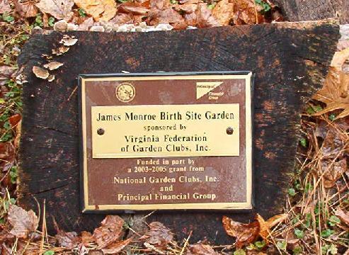 James Monroe Birthplace Garden Marker