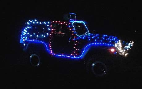 Lighted Jeep parade entry