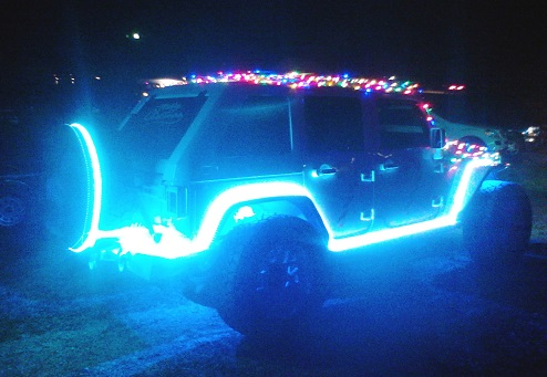 Lighted Jeep blue glow outline