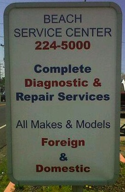 beach service center sign