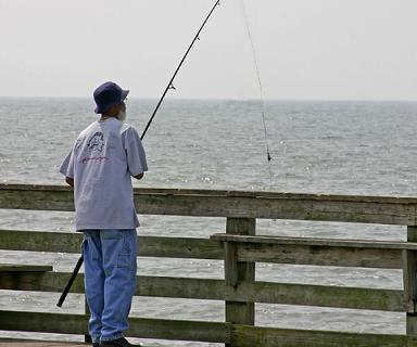 Man pier fishing