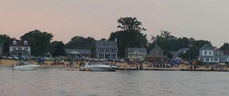 Boats Anchored Fireworks