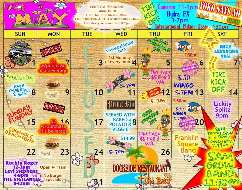 Dockside May Calendar