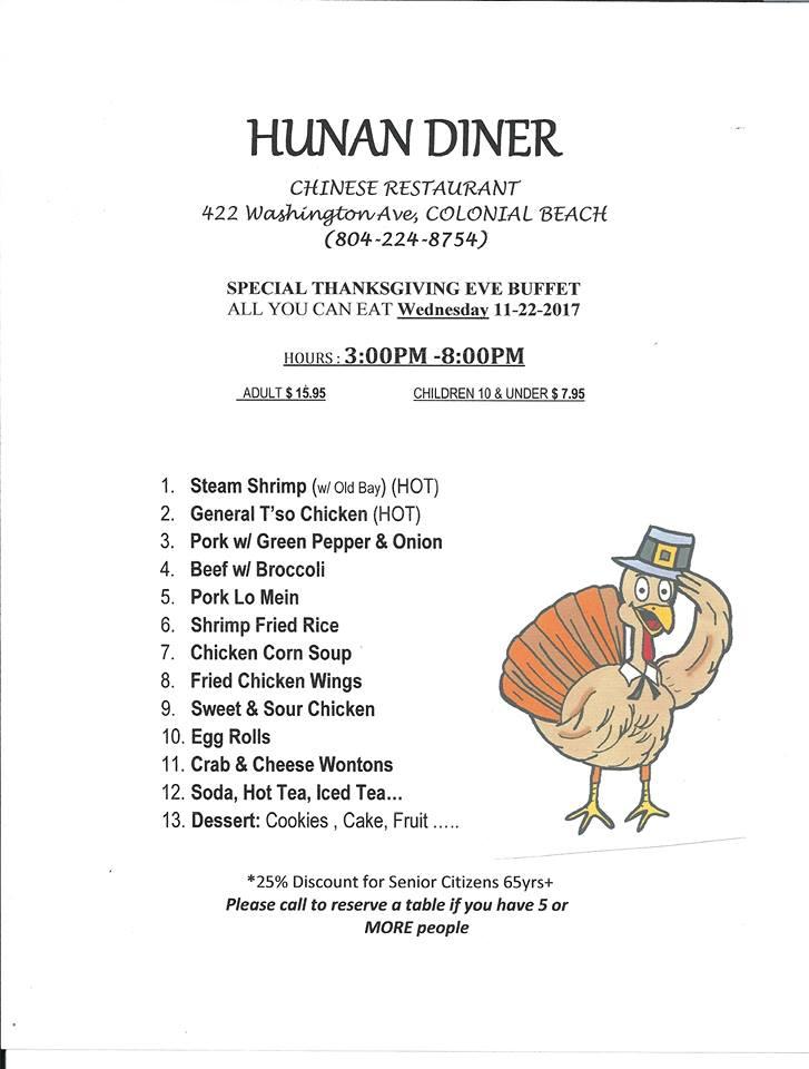 Hunan Diner Thanksgiving Eve menu