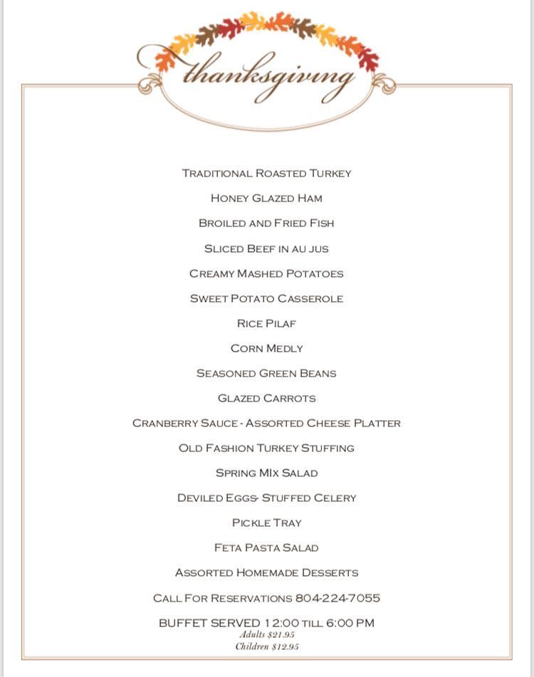 Riverboat Thanksgiving menu
