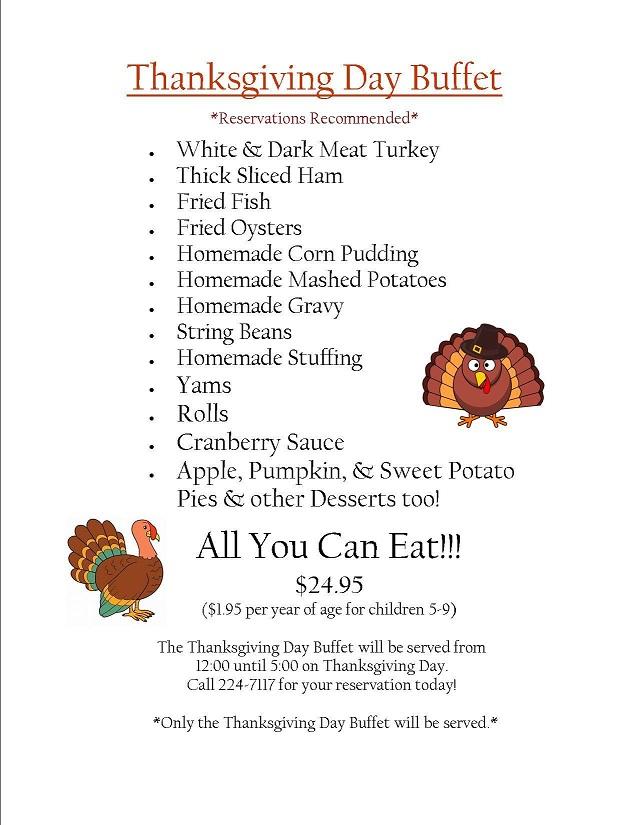 Wilkerson's Thanksgiving Menu