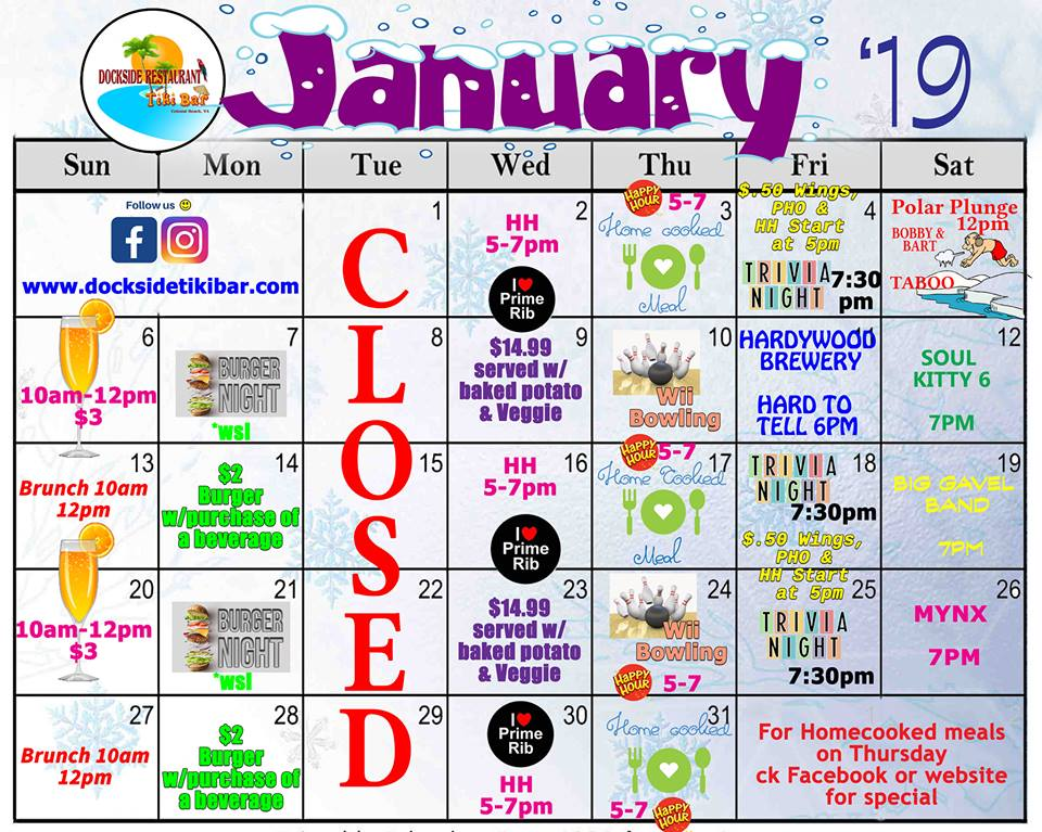 Dockside January Calendar