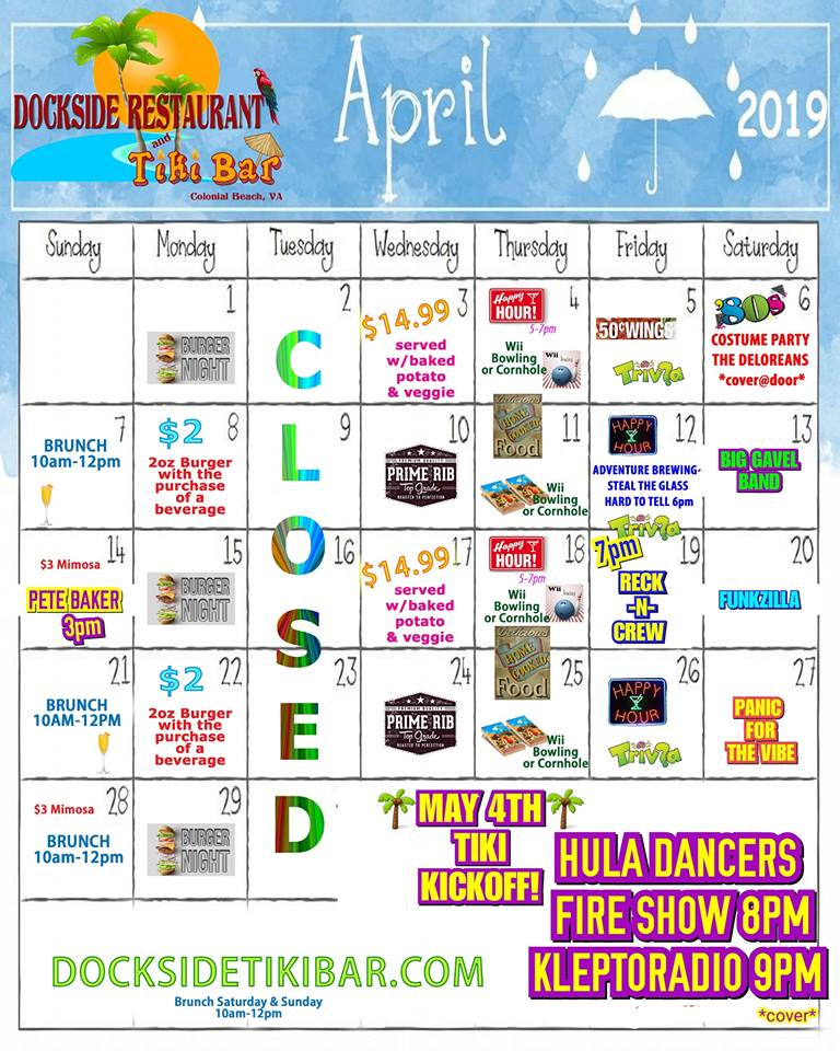 Dockside April Calendar