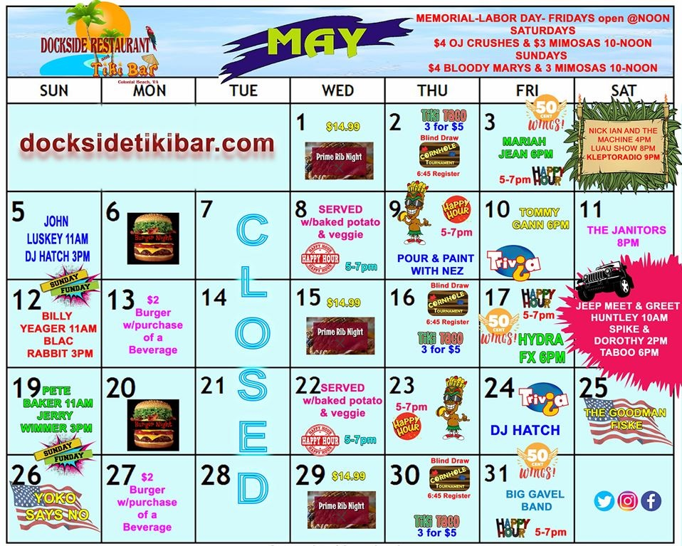 Dockside May 2019 calendar