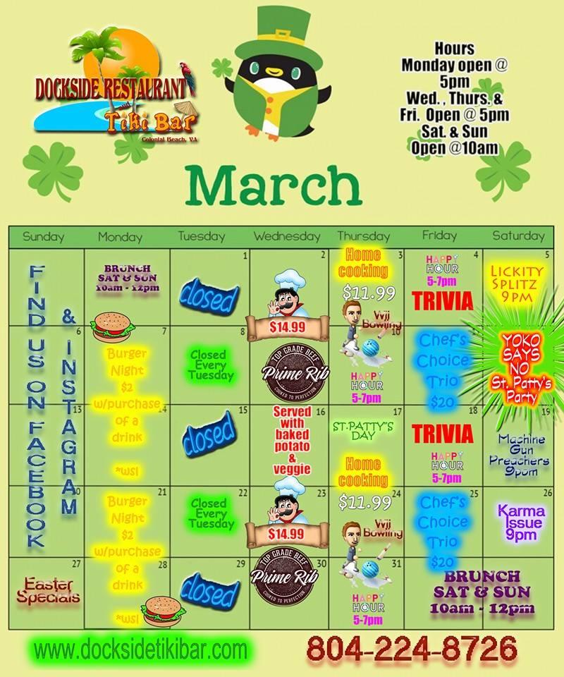Dockside March 2016 Calendar
