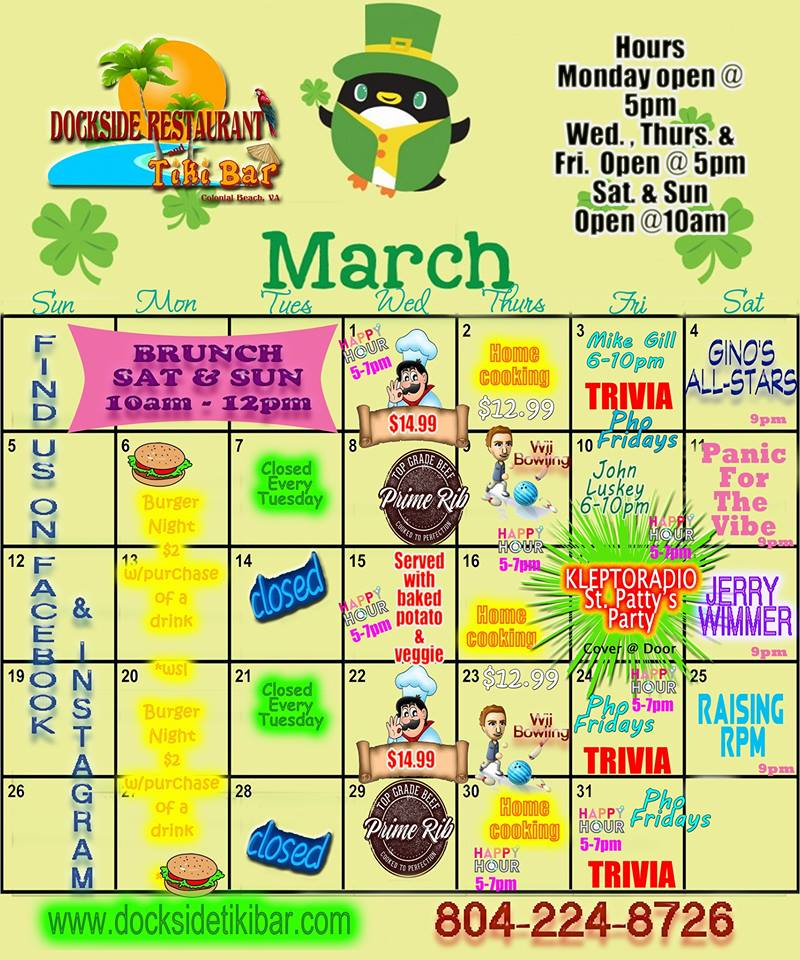 Dockside Calendar March 2017