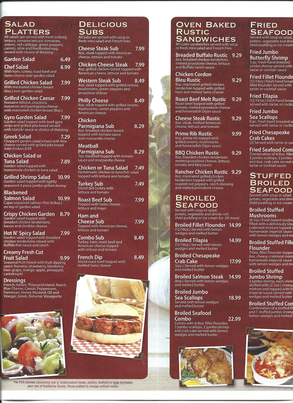 Four Seasons menu page 2