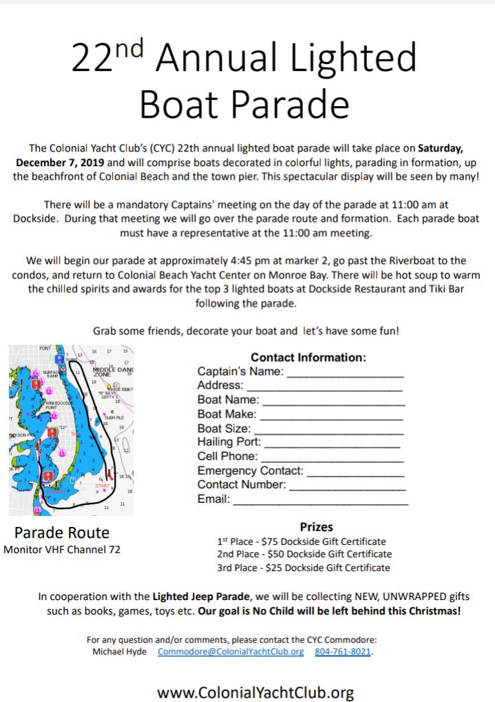 Lighted Boat Parade flyer