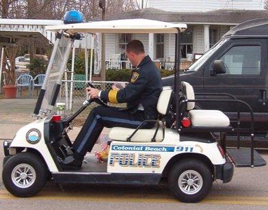 Colonial Beach Police golf cart