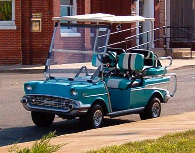 Golf Carts on the streets in Colonial Beach, Virginia. on