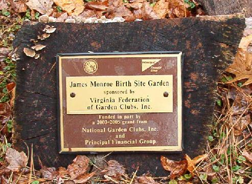 James Monroe Birthplace Garden Marker