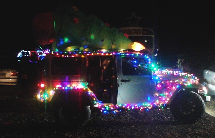 Lighted Jeep with tree on top