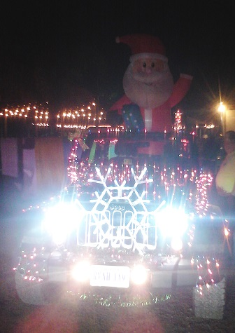 Lighted Jeep with Santa inflatable