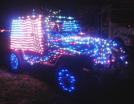 Lighted Jeep Parade American Flag