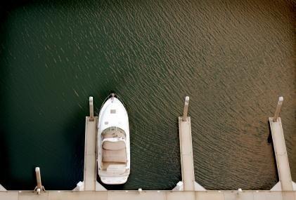 Boat docked in slip