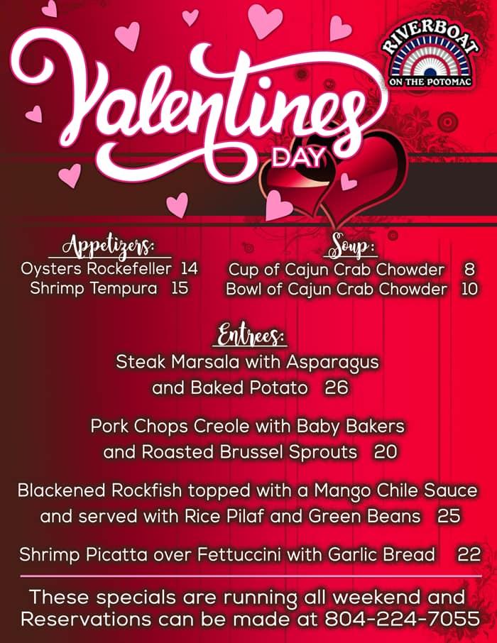 Riverboat's 2020 Valentine's Day menu