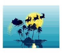 Santa flying over Palm Trees in moonlight