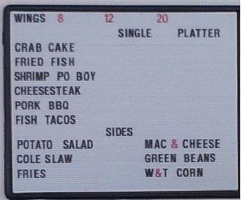 Hot Wings menu